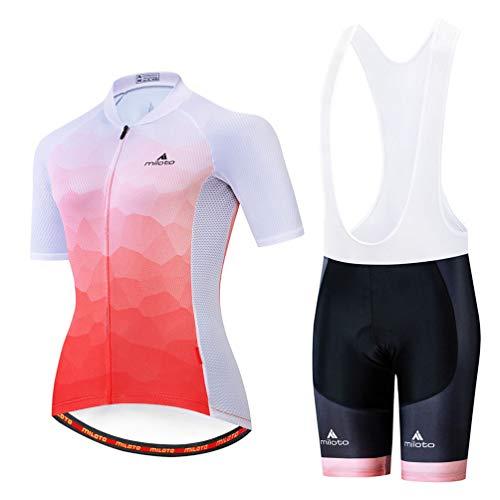 Uriah Women's Cycling Jersey Bib Shorts White Sets Short Sleeve Reflective Orange White Size S(CN)
