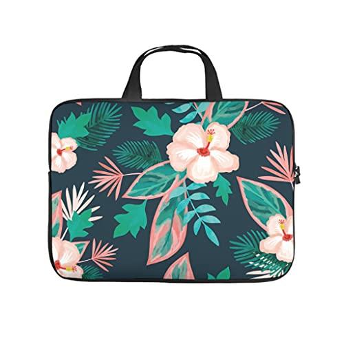 Funda para portátil con diseño de plantas tropicales, flores de hibisco, doble cara, impermeable, neopreno, funda para portátil, blanco, 10 pulgadas,