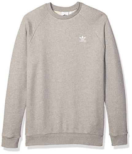 adidas Originals mens Trefoil Essentials Crewneck Sweatshirt Medium Grey Heather Large