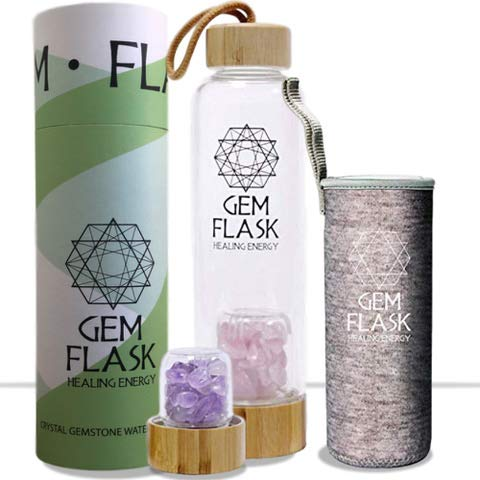 GEMFLASK - Bpa Free Crystal Water Bottle - Includes Amethyst and Rose Quartz Healing Crystals and Stones + Free Neoprene Sleeve & Bamboo Lid