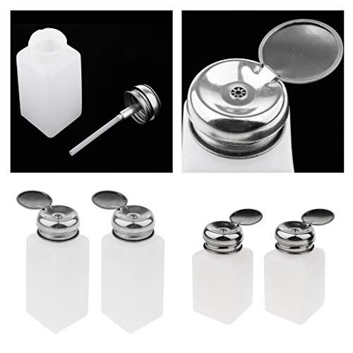 Fenteer 4x 200,250ml Pompe à Vide Bouteille Distributeur de Nail Art Dissolvant pour Vernis Gel Nettoyant pour Accessoire de Bouchon de Bouteille