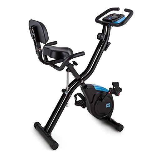 Capital Sports Azura X2 platzsparendes X-Bike mit Haltegriffen und Rückenlehne, Pulsmesser, Schwungmasse von 3 kg mit 8-stufig einstellbarem Widerstand, Trainingscomputer, max. 100 kg, schwarz