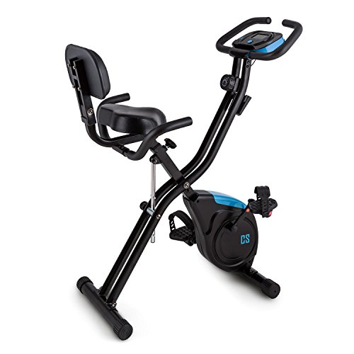 Capital Sports Azura 2 - Bicicleta estática Plegable, Altura Regulable en 7 Niveles, Carga máx. 100 kg, Masa oscilante de 3 kg, 8 Niveles de Resistencia, Monitor, Respaldo, Negro
