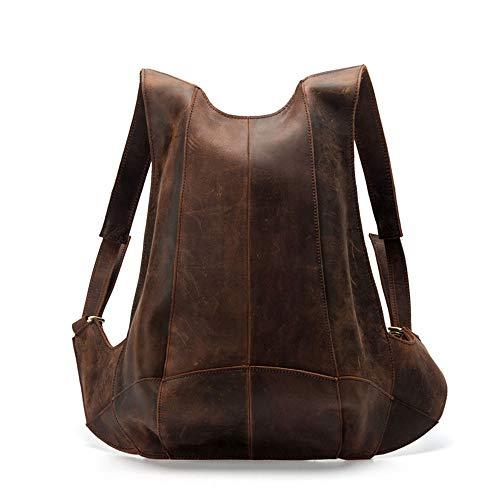 XinMeiMaoYi Rucksäcke Einfache Leder Rucksack Schüler-Beutel-beiläufige Rind Taschen for Männer Handcrafted 38 * 26 * 6.5CM