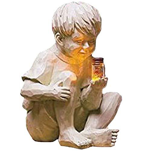 2021 New Garden Children Solar Lighted Firefly Jar Light, 5.1In Boy Girl Whimsical Statue, Boy Girl Statue Holding Jar of Fireflies, for Gardens Yard Patio Sculpture Decor (A)