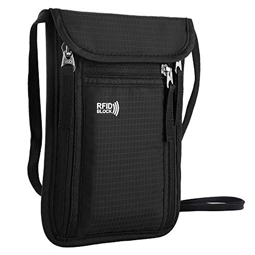 KEAFOLS Travel Pouch Neck Wallet Family Passport Holder Organizer Case with RFID Blocking,Security Zipper Concealed Organized Wallet to Keep Cash Documents Safe Travel in Peace