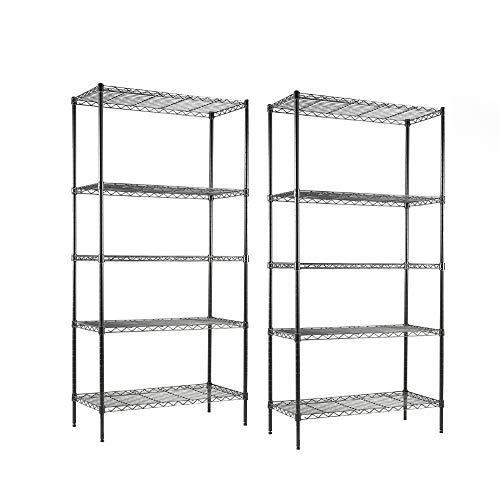 EFINE 2-Pack 5-Shelf Shelving Unit, Adjustable, Heavy Duty Carbon Steel Wire Shelves, 150lbs Loading Capacity Per Shelf, Shelving Units and Storage for Kitchen and Garage (30W x 14D x 60H) Black