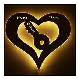 Schlüssel fürs Herz Schloss Led Holz Deko Geschenk für Paare und Partner Liebe mit Gravur Personalisiert