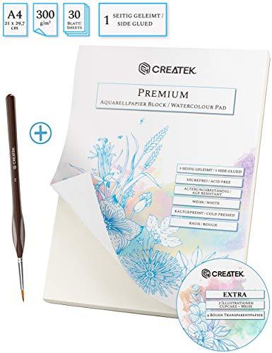 CreaTek Aquarellpapier A4 | 30 Blatt | 300g | kaltgepresst + Premium Pinsel und Gratis Illustrationen - hochwertiger Aquarellblock, Watercolor Paper