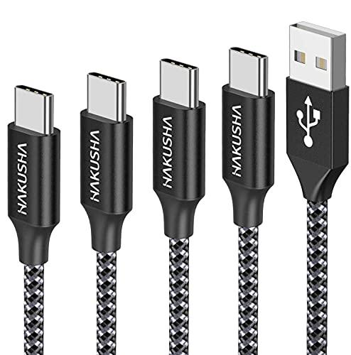 HAKUSHA Câble USB Type C, [Lot de 4, 0.5m 1m 2m 3m] 3A USB Cable Type C en Nylon Tressé Chargeur USB C Connecteur pour Samsung Galaxy S10 S9 S8,Note 10 9,Huawei P30 P20 P10 Mate30,Google Pixel…