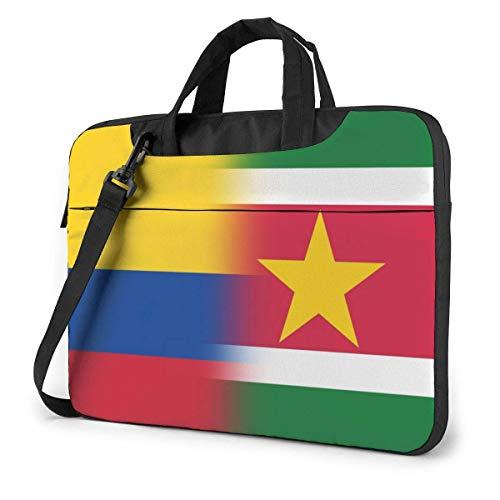 Colombia and Suriname Flag Cute Laptop Case Laptop Shoulder Messenger Bag Sleeve for 15.6 Inch