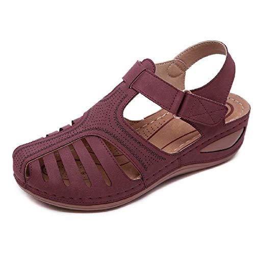 N/A Pantuflas cómodas, Pantuflas con tacón Inclinado, Sandalias de Mujer Transpirables, Zapatos cómodos y Personalizados-Vino Tinto_43