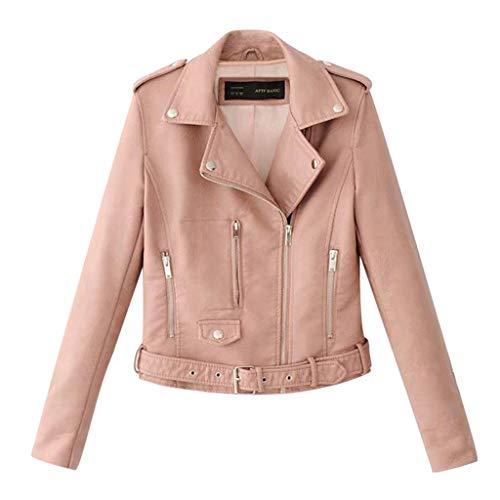 Yowablo Lederjacke Damen Künstlich PU Bikerjacke mit Reißverschluss, Kurze Jacke für Herbst mit Niet (L,Rosa)