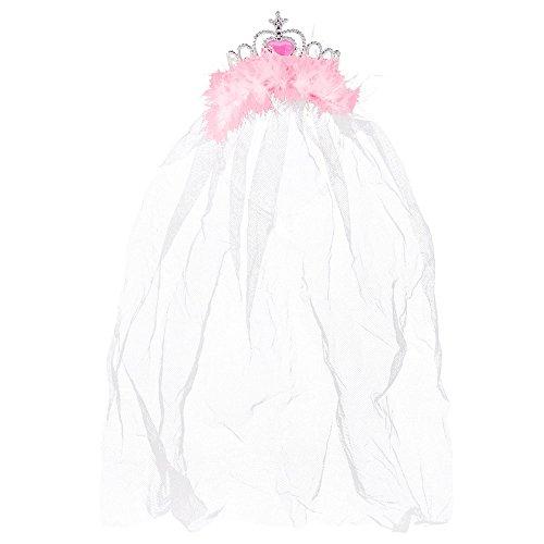 Partybob JGA Krone mit Schleier - Braut-Kopfschmuck für den Junggesellenabschied (Rosa)