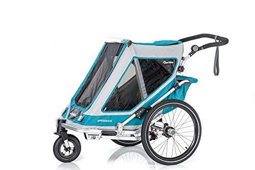 RennMaxe : qeridoo Speedkid Anhänger 2020 - Petrol - Sitzplätze: 2 - inkl Sicherheitswimpel - Kinderanhänger Fahrradanhänger
