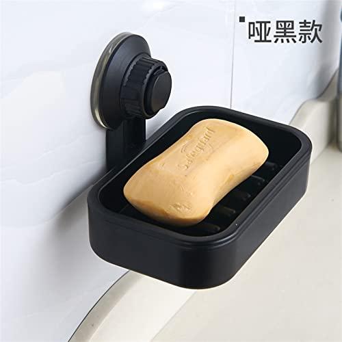 Caja de jabón Taza de jabón de succión caja de jabón de batalla de jabón de desagüe creativo Estante de jabón de doble capa Hogar for organizador de organizador de almacenamiento ( Color : Black )
