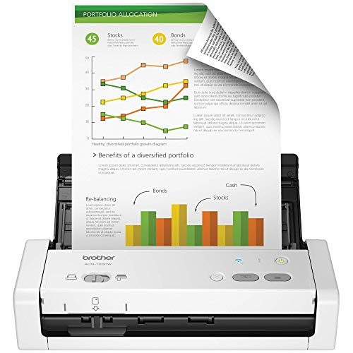 Brother Wireless Portable Compact Desktop Scanner, ADS-1250W, Easy-to-Use, Fast Scan Speeds, Ideal for Home, Home Office or On-the-Go Professionals (Renewed)