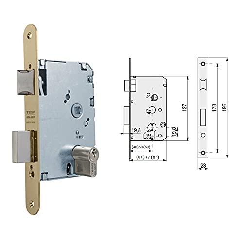 Tesa Assa Abloy, 20105PHL, Cerradura de embutir para puertas de madera, Función de entrada, Acero Latonado