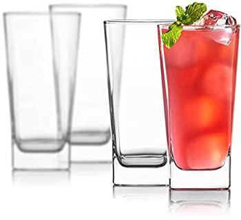 Highball Glasses [Set of 4] + 4 Stainless Steel Straws 16 oz Lead-Free Crystal Clear Glass Elegant Drinking Cups for Water Wine Beer Cocktails and Mixed Drinks - Round Top Square Bottom