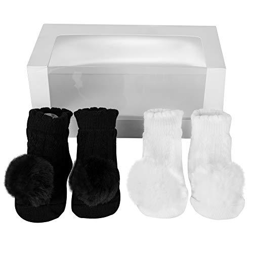 Soapow 2 Paar süße Baby-Mädchen mit Pom Pom Atmungsaktive Socken Neugeborene Baumwolle Socken für 0-6 Monate Gebrauch