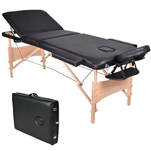 Wellhome 3 Zonen Holz Massageliege Faltbar Klappbar Leicht Massagetisch Massagebank Tragbar Höhenverstellbar Massage Bett Professionell mit Verstellbar Kopfstütze, Armlehne, Tragetasche (Schwarz)