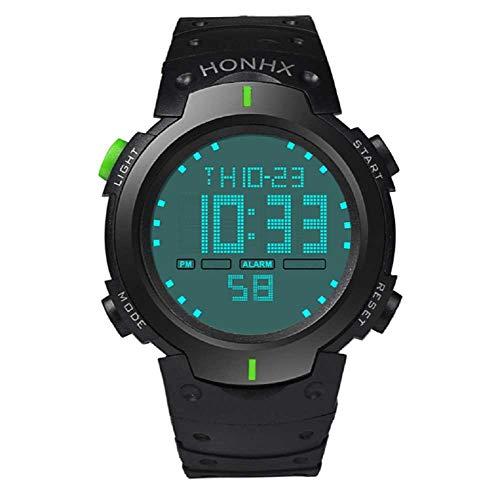 WSSVAN Reloj deportivo, reloj multifuncional LED electrónico de moda para hombres reloj digital LCD fecha caucho resistente al agua reloj luminoso (Verde)