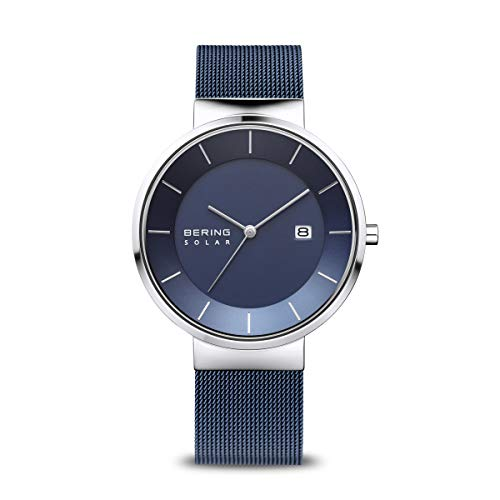 Bering Herren Analog Solar Uhr mit Edelstahl Armband 14639-307