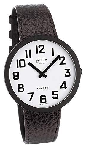 Arsa Jumbo Low Vision weiß/schwarz - Uhr für die sehbehinderten - begrenzte Vision - 40 mm Zifferblatt - Wasserdicht bis 30 m - mit schwarzem Lederarmband