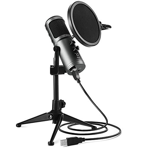 Mugig Microfono USB per PC laptop, Microfono a Condensatore con Filtro Anti-pop e Supporto da Tavolo, per Registrazione, Streaming, Gaming, Insegnamento, Videoconferenza