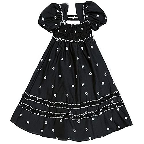Czarno-biała sukienka kwiatowa, francuska sukienka na szyję kwadratowej, słodki i redukujący wiek, dobrze dopasowane, wygodne i wszechstronne, odpowiednie do wycieczek i spotkań