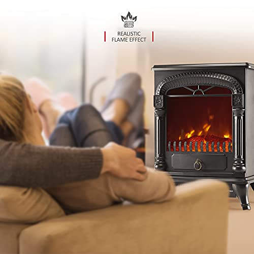 NETTA Electric Fireplace Stove Heater with Log Wood Burner Effect - with Fire Flame Effect, Arch Design, Freestanding Portable, Wood Burning LED Light - 1750-1950 watts
