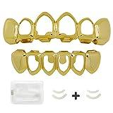 LuReen 14k Gold Silver Open Face Outline 6 Teeth Grillz + Extra 2 Molding Bars