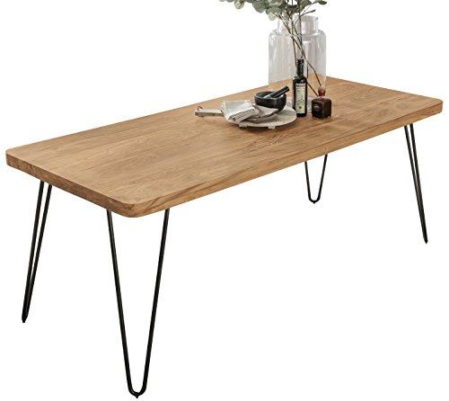 FineBuy Esstisch Massivholz Akazie 120 x 80 x 76 cm Esszimmer-Tisch Küchentisch modern Landhaus-Stil Holztisch mit Metallbeinen dunkel-braun Natur-Produkt Massivholzmöbel Echt-Holz unbehandelt