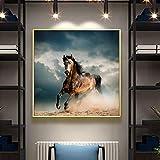 KWzEQ Carteles Modernos de Animales y Caballos murales sobre Lienzo para la decoración del hogar de la Sala de Estar,Pintura sin Marco,45x45cm