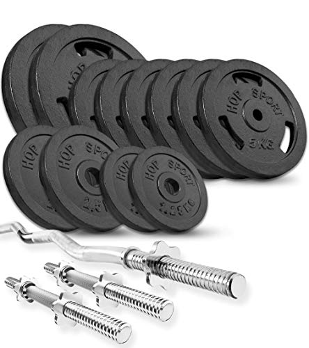 Hop-Sport Cast Iron Barbell Set 37kg/57 kg/77kg - Weight Plates with Curl Barbell Bar 120cm + 2 Straight Barbell Bars 40cm – Iron Weights for Men/Women–Home Gym Equipment for Bodybuilding, Weight Loss