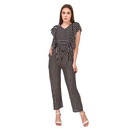 Neysa Women's Hosiery Lycra Maxi Regular Sleeveless Striped Jumpsuit (...