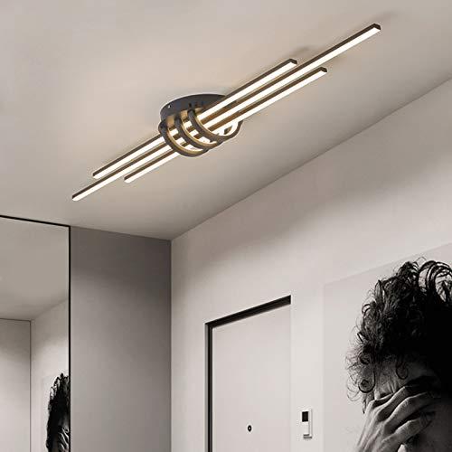 Lámpara De Techo LED Regulable con Control Remoto, Luz De Techo De Línea De Diseño Moderno, Pantalla De Acrílico De Hierro Ideal para Dormitorio, Comedor, Cocina, Estudio,Negro,80cm
