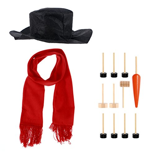 OULII Snowman Making Kits Tools Snowman Decorating Kit Winter Holiday Outdoor Toys Xmas Gift With Hat Scarf Pipe Eyes Mouth Button Nose 13pcs