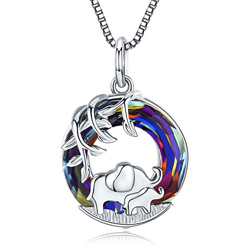 Elefanten Halskette 925 Sterling Silber Damen Baum des Lebens Glücks Elefant Kette Elefanten Geschenk für Mutter,Tochter (B-Kristall Elefanten)