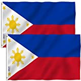 Anley Fly Breeze 3x5 Foot Philippines Flag - Vivid Color and Fade Proof - Canvas Header and Double Stitched - Filipino Philippine National Flags Polyester with Brass Grommets 3 X 5 Ft (2 Pack)
