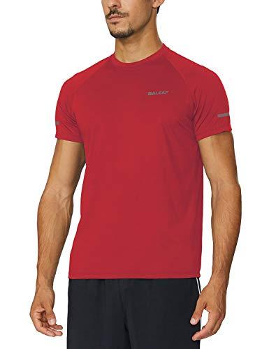BALEAF Men's Quick Dry Short Sleeve T-Shirt Running Workout Shirts Red Size...