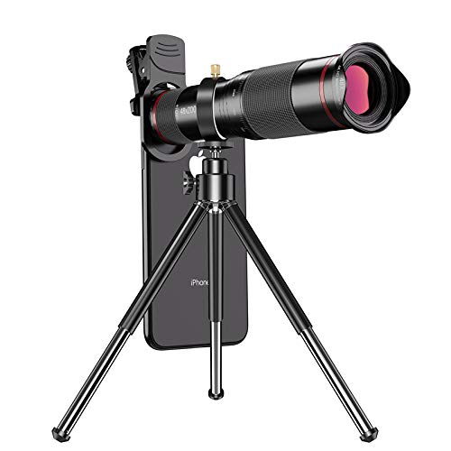 Phone Camera Lens 48X Monocular Telephoto Lens for Bird Watching Works with iPhone 11/ Pro/Pro Max Samsung Pixel Android Any Smartphones (Red)