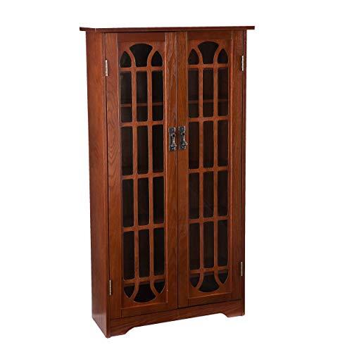 SEI Furniture Window Pane Media Display Cabinet, Oak