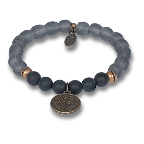 Anisch Hombre Herenarmband vissen - Signs of Zodiac sterrenbeeld armband van onyx & krobo kralen African Soul - artnr. 4440-b