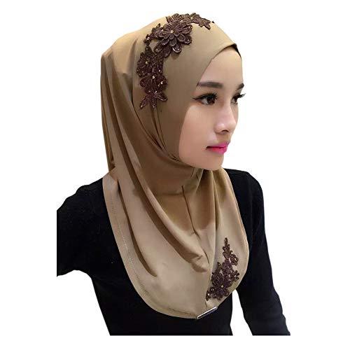 Meijunter Damen Muslim Head Scarfs Hijab Veils - Spitzenstickerei Schal Arabischer Hindu Jüdischer Kopftuch Underscarf Headwrap