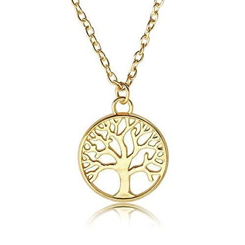 Collar con colgante de árbol de la vida de acero inoxidable dorado