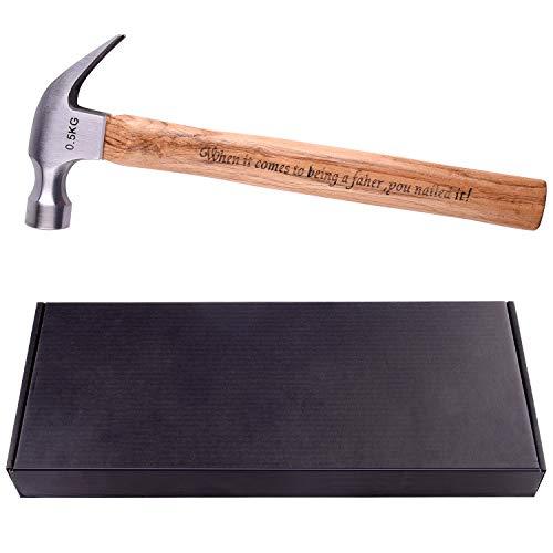 TUPARKA Vatertagsgeschenk personalisierbarer Hammer mit Gravur Holzgriff Stahl Hammer für Väter