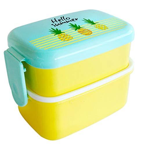 Caja De Almuerzo Mini Lunch Box For Kids Microwavable Portable Snack Food Container Cartoon Cute Fruit Pattern Student Picnic Bento Box,Pineapple