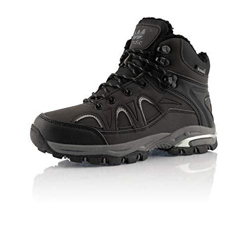 Fusskleidung Damen Herren Outdoor Boots Warm Gefütterte Stiefel Übergrößen Winter Stiefeletten Schuhe Schwarz Grau EU 38