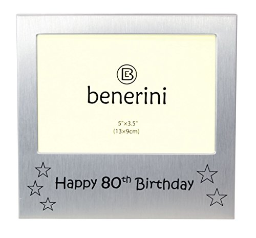 Happy 80th Birthday - Photo Frame Gift - Photo Size 5 x 3.5 Inches (13 x 9 cm) - Brushed Aluminum Satin Silver Color. by benerini